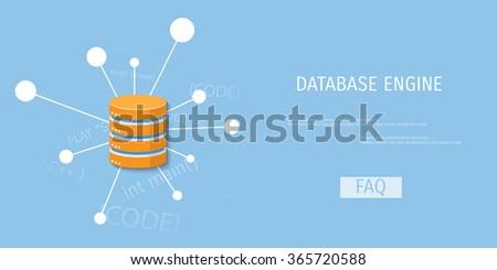 Vector illustration banner. Flat background. Database, server, information transfer. Global storage. - stock vector
