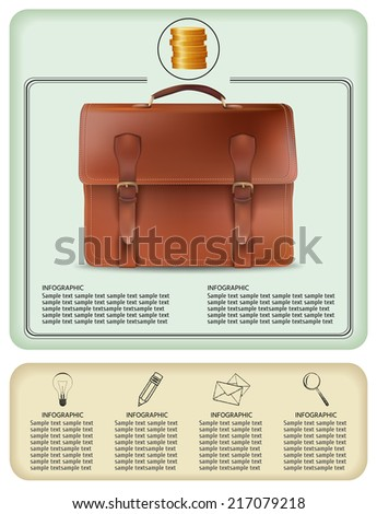 vector illustration. banner on business subject. vintage brouwn diplomat. - stock vector