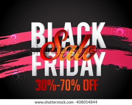 Vector illustration banner or poster of black friday sale background.