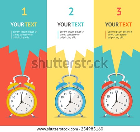 Vector illustration banner set vertical wakeup clock. Flat Design - stock vector
