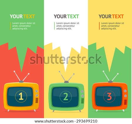 Vector illustration banner set vertical with retro television.  Isolated. Flat Design, option banner.  - stock vector