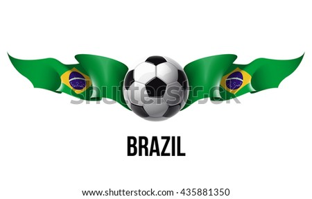 vector illustration banner with isolated on white background waving in the wind flag of the country and the football Ball
