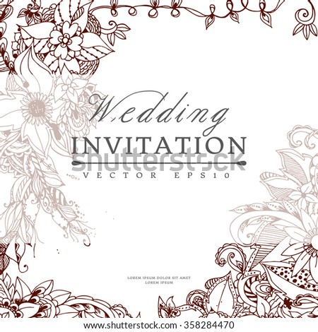 Vector illustration banners cards wedding invitation with floral zentangl.