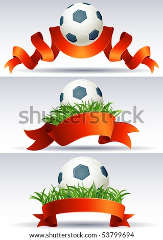 Vector illustration - banners with soccer balls and red ribbons - stock vector