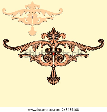 vector illustration baroque ornaments on a yellow background  - stock vector
