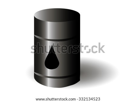 Vector illustration. Barrel of oil on white background.