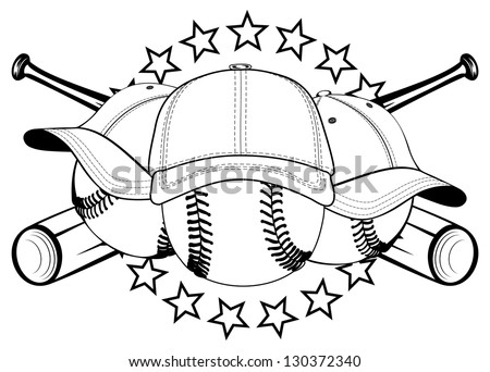 Vector illustration baseball balls in hats and crossed bats and stars - stock vector