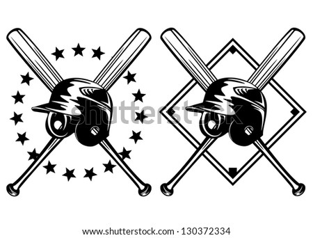 Vector illustration baseball helmet and crossed bats set - stock vector