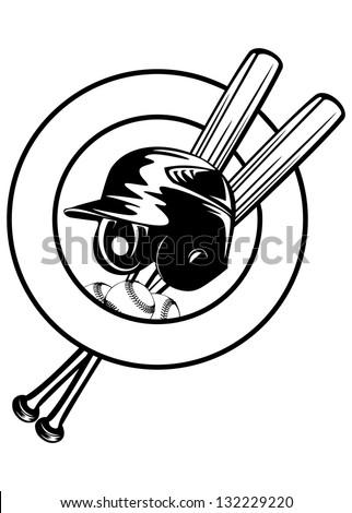 Vector illustration baseball helmet, balls and crossed bats - stock vector