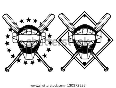 Vector illustration baseball mask and crossed bats set - stock vector