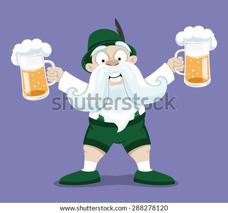 Vector illustration. Bavarian man with beer.