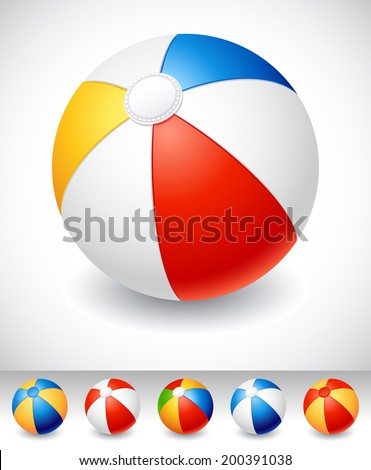 Vector illustration - Beach ball on white - stock vector