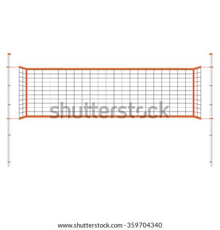 Vector Illustration Beach Volleyball Net Orange Stock Vector ...
