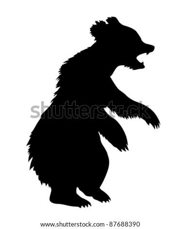 vector illustration bear on white background - stock vector