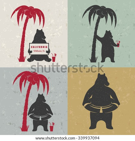 Vector Illustration Bear with sign Welcome to California, palm and lifebuoy on a white background. Bear Symbol for T-shirts print, labels, badges, stickers and logos - stock vector