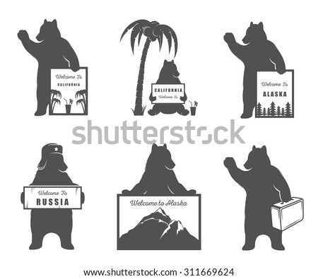 Vector Illustration Bear with sign Welcome to California, Russia and travel on a white background. Bear Symbol for T-shirts print, labels, badges, stickers and logos - stock vector