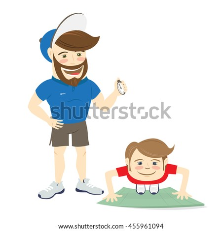 Vector illustration Bearded fitness personal trainer instructor and funny sportsman doing abs exercises, push-ups or plank pose on mat - stock vector