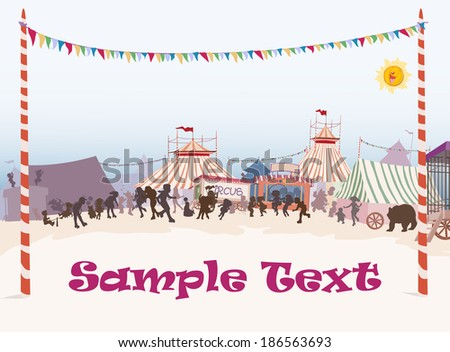 Vector illustration, beautiful circus yard banner, card concept.