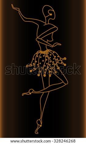 Vector illustration, beautiful dancer sketch, golden collection, card concept. - stock vector