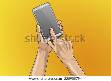 Vector illustration - Beautiful hands Touching on a smart phone in outline version. Created with adobe illustrator. smart phone, background, are Created separately. - stock vector