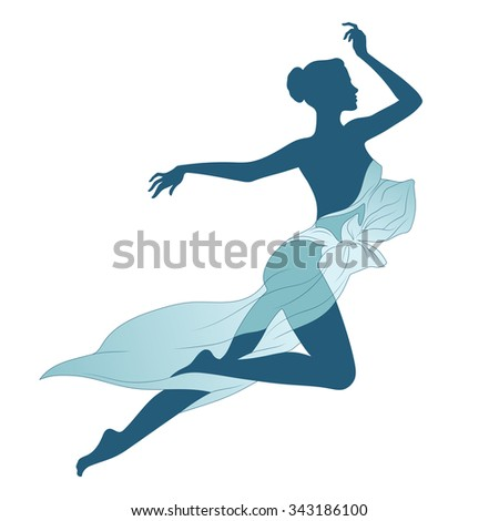 Vector illustration beautiful slim female silhouette. Version with covered bust - stock vector