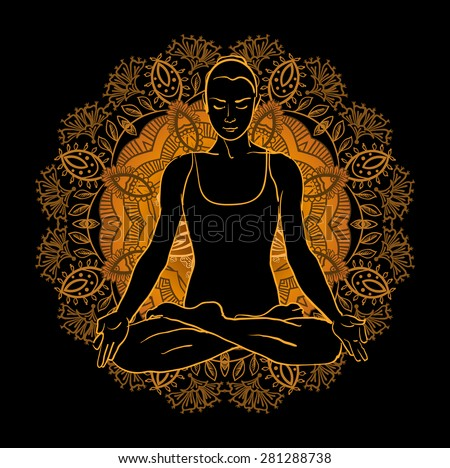 Vector illustration beautiful woman doing yoga meditation - stock vector