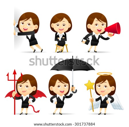 Vector illustration - Beauty businesswoman character set - stock vector