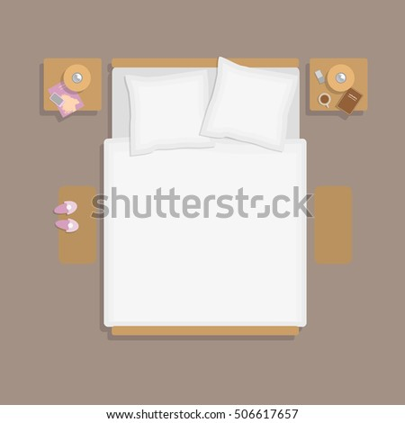 Delighful Bed Top View Double With Bedside Tables In Inspiration Decorating
