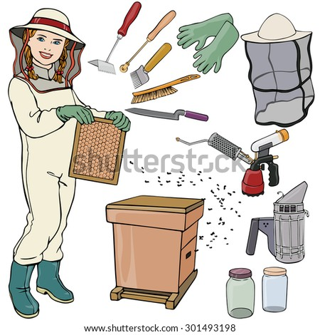 Vector illustration, beekeeper gear, cartoon concept, white background.