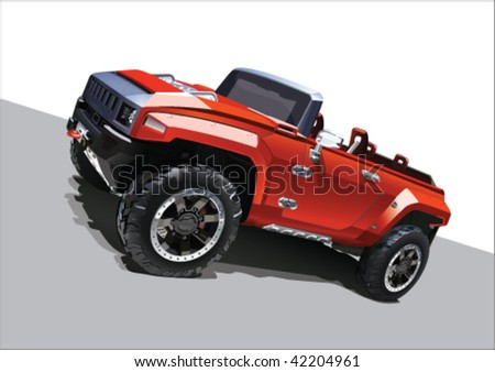 Vector illustration big jeep - stock vector