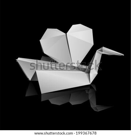 Vector illustration - bird with heart on the water (origami style)