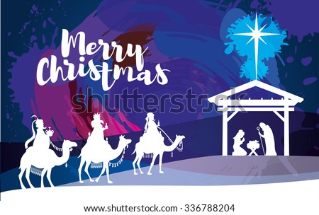 vector illustration Birth of Christ, baby Jesus reaching the Magi bear gifts, three wise kings and star of bethlehem, nativity christmas graphics design elements - stock vector