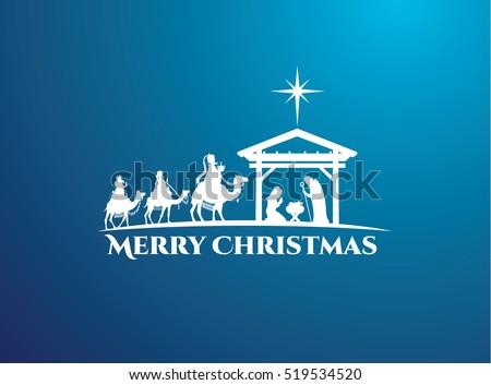 Vector Illustration Birth Christ Baby Jesus Stock Vector ...  Jesus Christ Birth Clipart