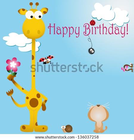 Vector Illustration Birthday Card Animal Bug Stock Vector 136037258