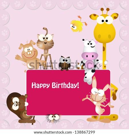 Vector Illustration Birthday Card Animal Bug Stock Vector 138867299