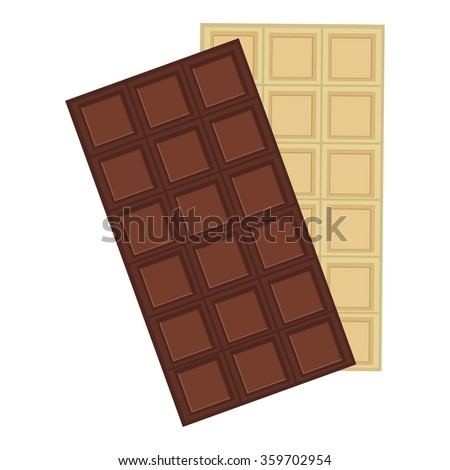 Vector illustration black and white chocolate bars. Dark chocolate. Chocolate bar icon - stock vector