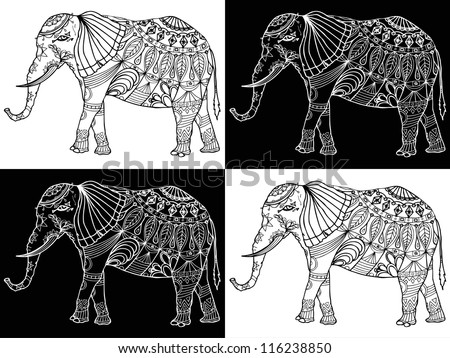 Vector illustration, black and white elephant pattern, card concept. - stock vector
