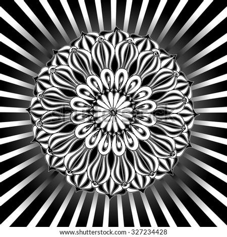 Vector illustration, black and white mandala flower, card concept. - stock vector