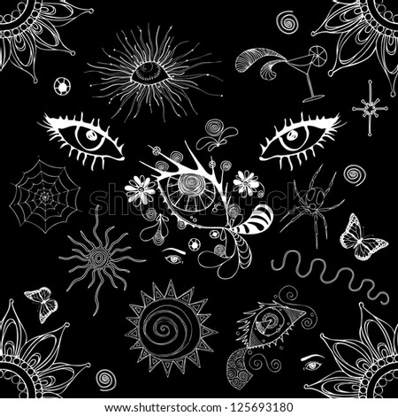 Vector illustration, black and white pattern, eye world, card concept. - stock vector