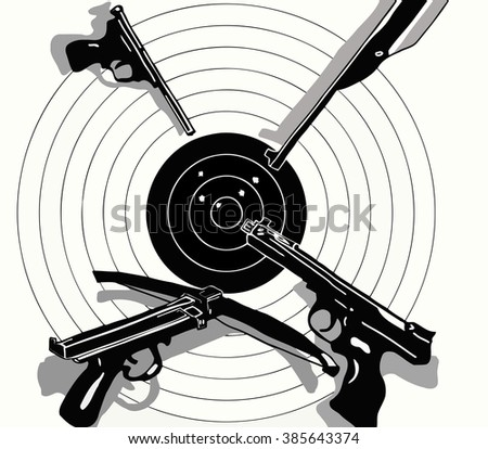 vector illustration black and white target holes and gun on the target, crossbow, pistol, rifle, - stock vector