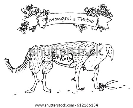 Vector Conceptual Illustration Tattooed Dog Husky Stock Vector