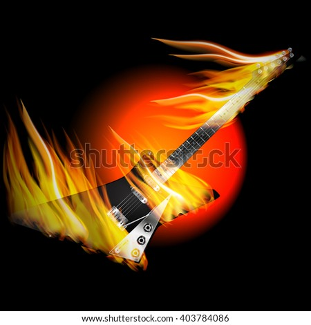 Vector Illustration Black Electric Rock Guitar In Fire And Flames On A Background With Oranzhevym