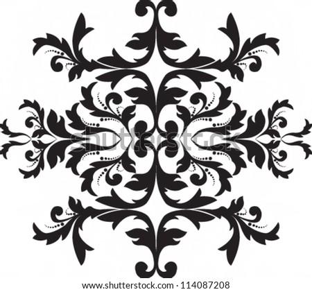 Vector illustration. Black floral motif - stock vector