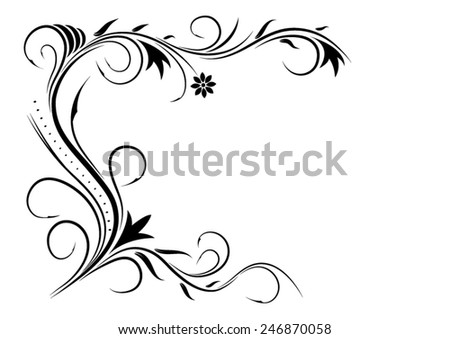 Vector illustration. Black floral ornament on a white background. - stock vector
