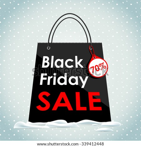 Vector illustration. Black Friday sales. Black bag in the snow. Sale of a black bag. - stock vector