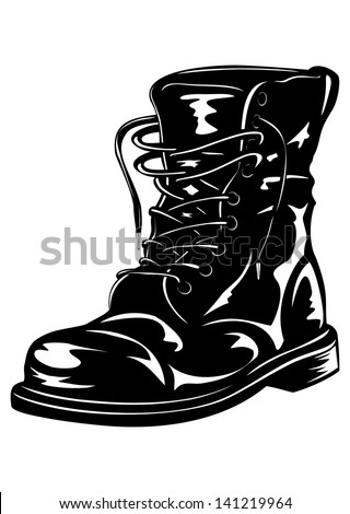 Vector illustration black leather army boot - stock vector