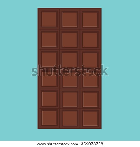 Vector illustration black, milk chocolate bar isolated on blue background. Dark chocolate. Chocolate bar icon - stock vector