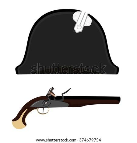 Vector illustration black Napoleon Bonaparte hat and flintlock musket gun. General bicorne hat - stock vector