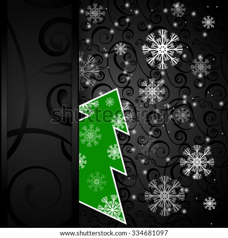 Vector illustration: Black paper-craft vertical postcard with green christmas tree, gold decoration and snowflakes