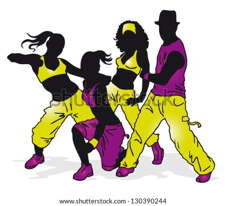 Group Dance Cartoon Silhouettes Dancing Group